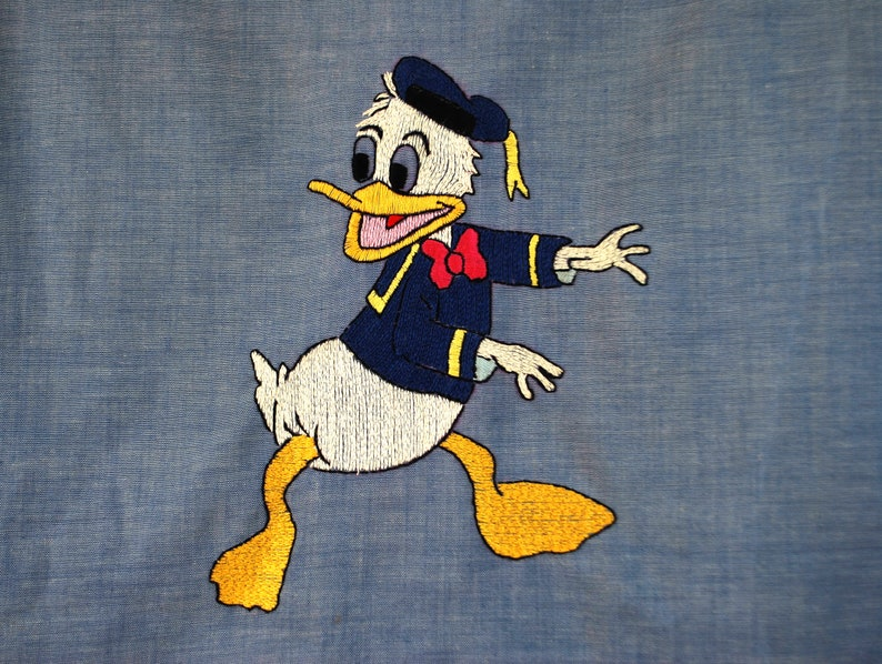 42 chest 1970s vintage donald duck embroidered chambray western shirt  70s novelty disney shirt