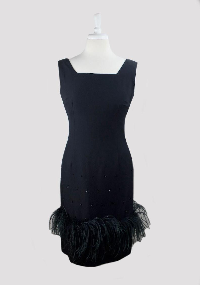 29 waist 1960s marabou feather vintage inky black wool sheath w studs