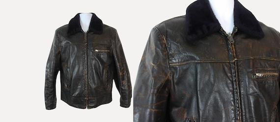 1940s brown leather motorcycle jacket / 40s vintag