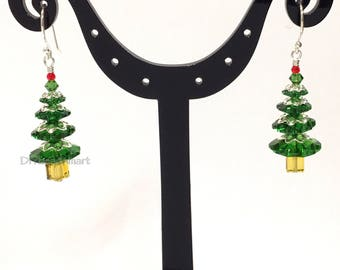 Frosted Christmas tree earrings