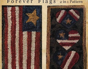 4ea6461f02d Forever Flags. 2 in 1 Punch Needle American Flag Red White Blue Folk Art  Colonial Rug Farmhouse Perfect Prim