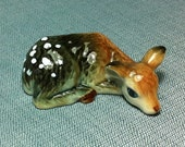 Miniature Ceramic Fawn Deer Sleeping Animal Cute Little Tiny Small Brown White Figurine Statue Decoration Hand Painted Craft Collectible