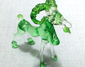 Hand Blown Glass Funny Mountain Billy Goat Animal Green Transparent Figurine Statue Decoration Collectible Small Craft Hand Painted Deco