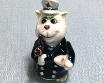 Miniature Ceramic Cat Kitty Sailor Captain Fisherman Animal Cute White Black Figurine Statue Decoration Craft Collectible Hand Painted Deco