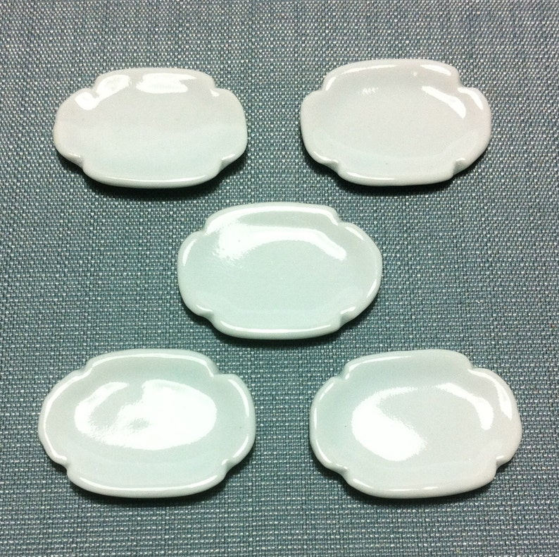 Set of 6 Hand Paint Blue Oval Plate//Tray Dollhouse Miniature Ceramic Kitchenware