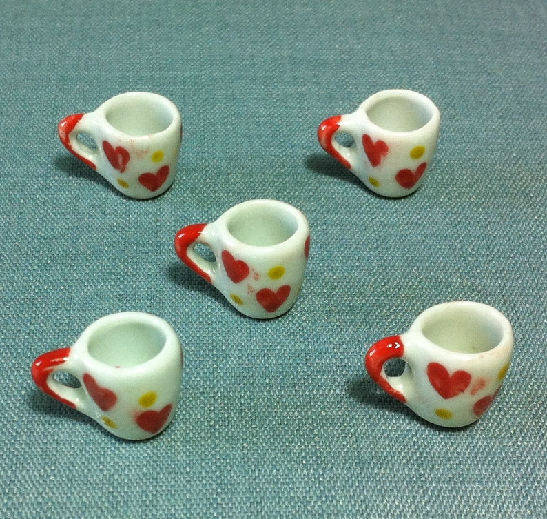 Cherry Painted Teapot /& Coffee Set Dollhouse Miniatures Ceramic Supply Food