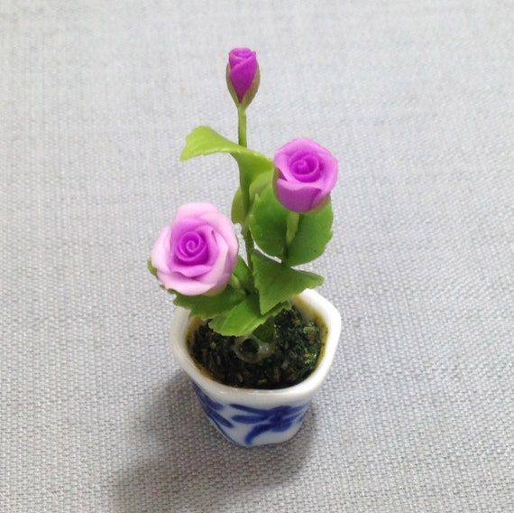 Purple Rose Dollhouse Miniature Flower Hand made Clay plant Garden Decor