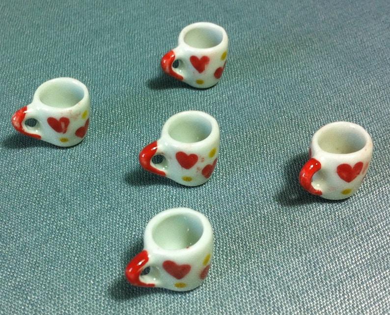 10 Mug Hand Painted Heart Yellow  Dollhouse Miniatures Ceramic Food Deco