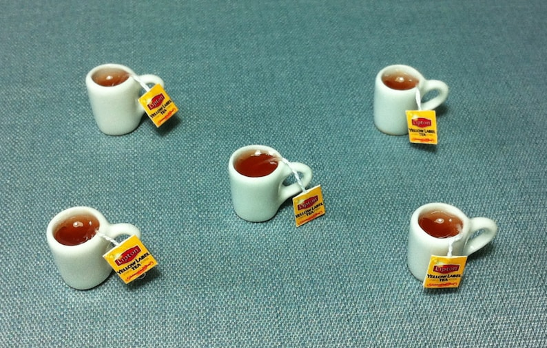 Set of 4 Mugs of Lipton Tea Hot Dollhouse Miniatures Food Supply Deco