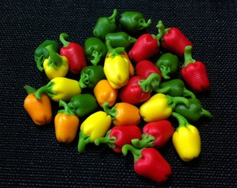 20 Miniature Mix Bell Peppers Clay Polymer Red Green Yellow Vegetables Veggies Cute Little Tiny Small Dollhouse Supplies Food Jewelry 1/12