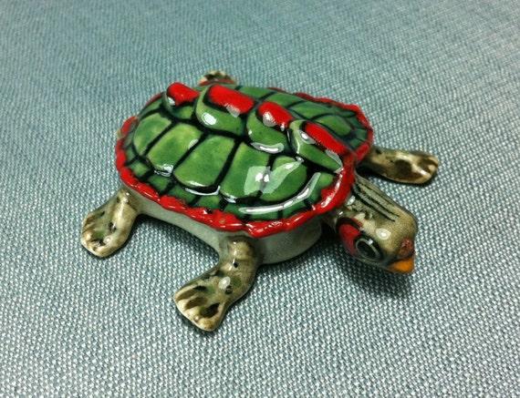 Ceramic Figurine Miniature Sea Turtle Reptile Animal Handmade Tiny Sea Turtle