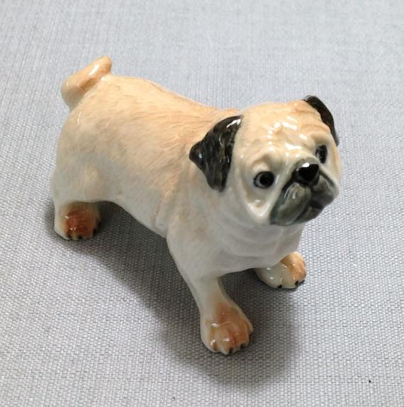Little pug puppy doll toy Dog figure Beige puppy statue