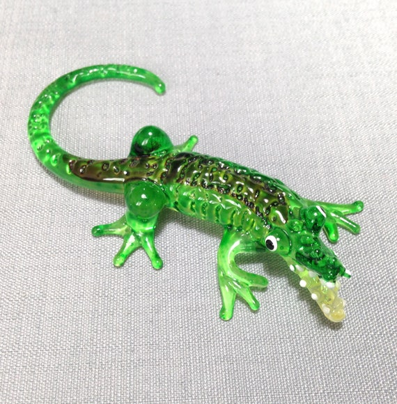 Blown Glass Figurine Art Animal Small Reptile Green Alligator Crocodile