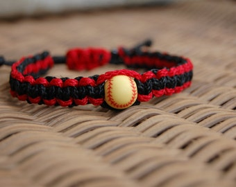 Red and Black Bracelet with Softball Beads