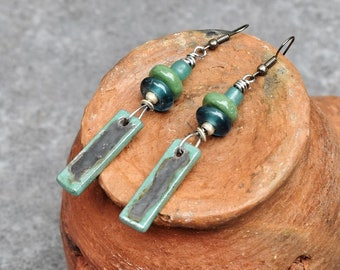 Bohemian Earrings, Rustic Jewelry, Gypsy Boho Earrings, Artisan Earrings, Sea Green Dangle  Earrings, Statement Earrings, Ceramic Jewelry