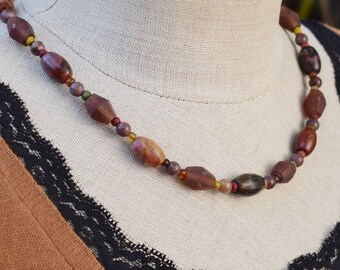 Rustic Gemstone Necklace, Natural Jewelry, October Birthstone Necklace, Resin Jasper Necklace, Boho Jewelry, Earthy Brown Necklace, Mom Gift