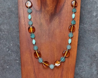 Elegant Teal Green Necklace with Amber Colored Glass Beads, Bohemian Jewelry, Resin Jewelry, Birthday Gift Mom, Beaded Necklace Coin Beads
