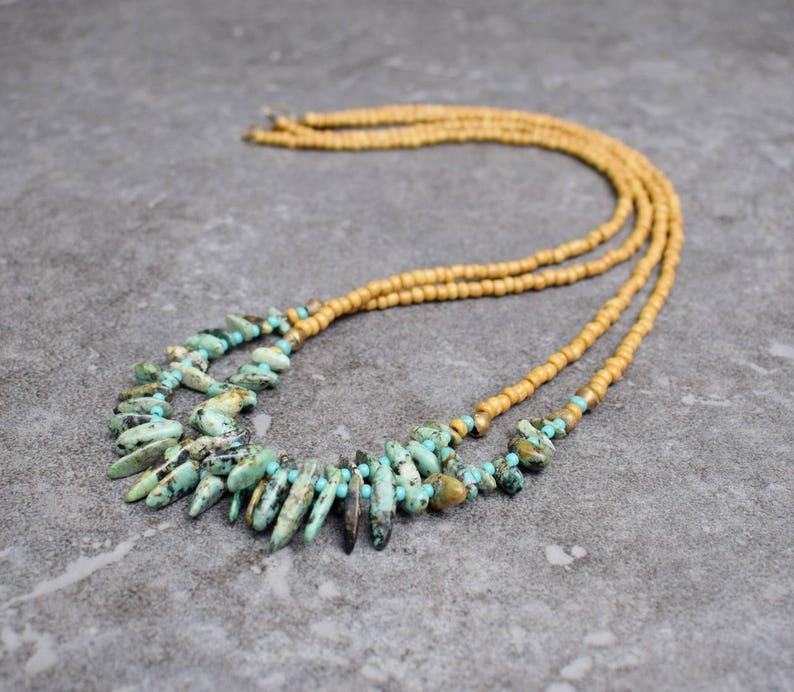 Long Boho Necklace Turquoise Gemstone Bohemian Jewelry Ochre Seed Beads /& Green Stone Layering Tribal Style Gypsy Hippie Jewelry