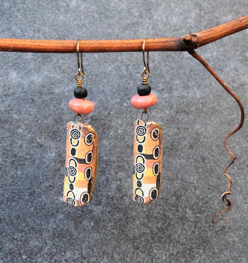 Hippie Jewelry Aboriginal Tribal Ethnic Festival Bohemian Jewelry Peach Pastel Orange Pink Primitive Earrings Colorful Tribal Earrings