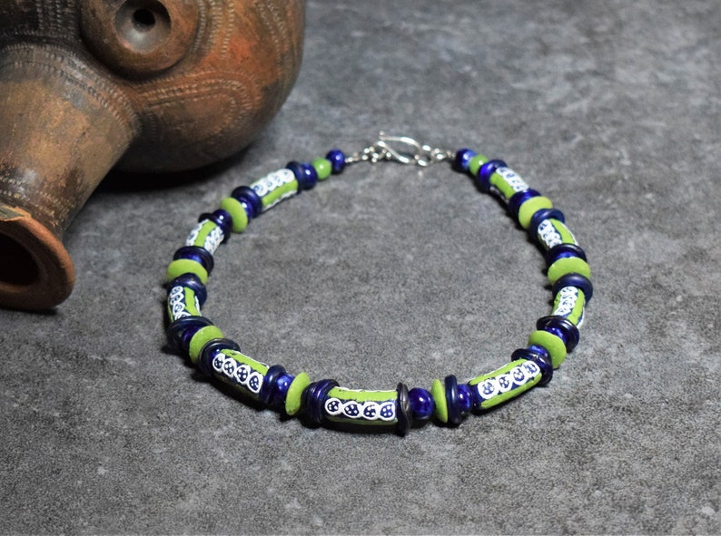 Recycled Glass Beads Lime Green Chunky Necklace Tribal Jewelry Colorful African Necklace Cobalt Blue Large Boho Necklace