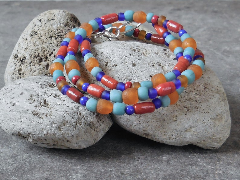 Details about  /Women Long Red Light Blue and Gold Glass Bead Necklace