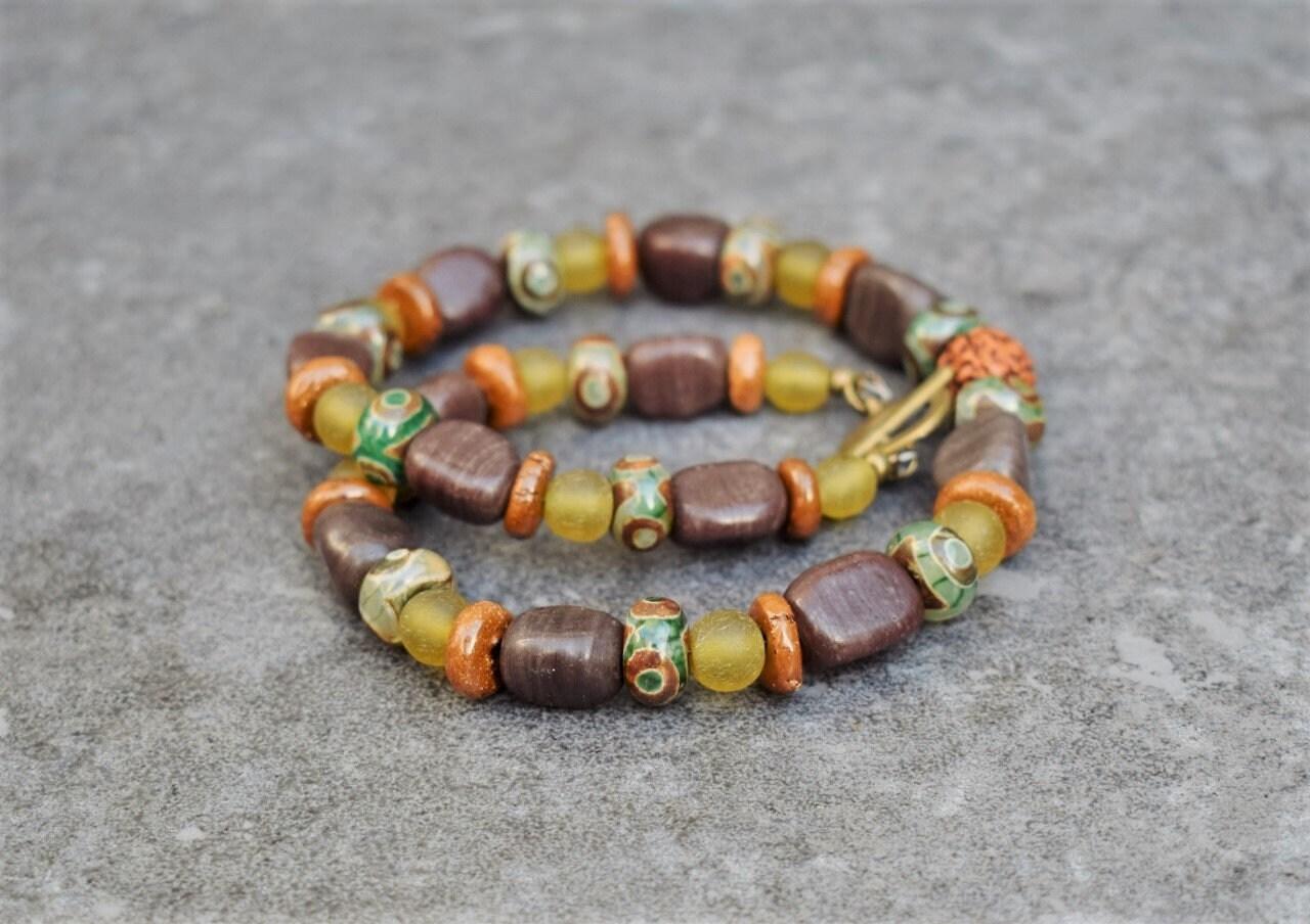 Earthy Goddess Handmade Unique Beaded Necklace with Rock pendant druzy quartz Boho Hippie Festival Energy Yoga Earth Dust Necklace