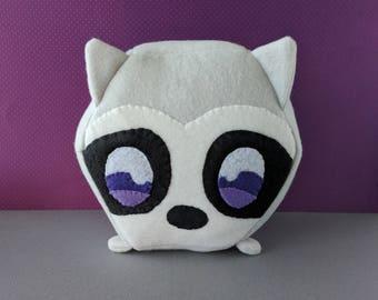 Raccoon Hexagonimal - Stuffed Raccoon - Animal Plushie - Hexagon Toy