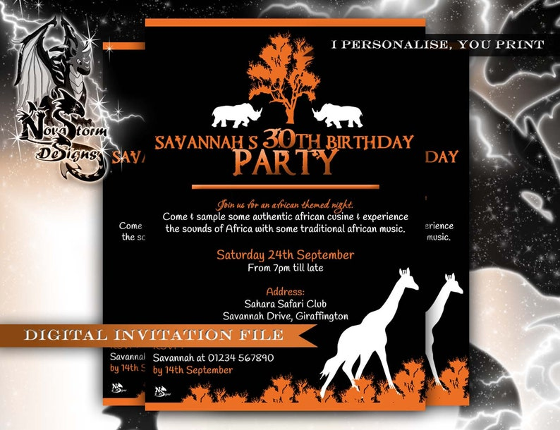 African Theme Night Party Invitations Personalised
