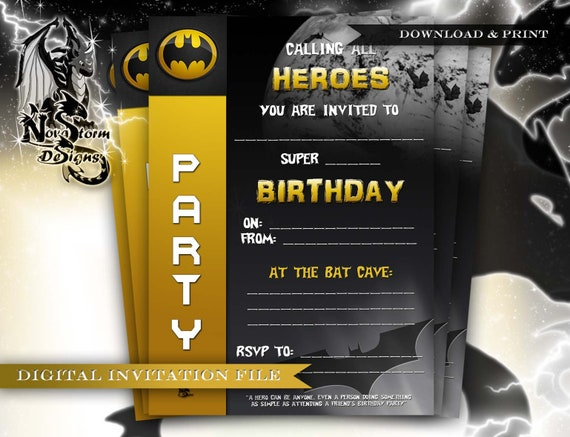 DIY Superhero Party Invitations Instant Download Ready To