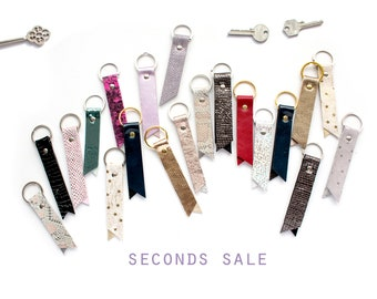 SECONDS SALE - Leather Key Fob, Loop Keychain, Star Leather Keychain, Blue Glitter Keychain, Cute Leather Accessories, Keychain Sale
