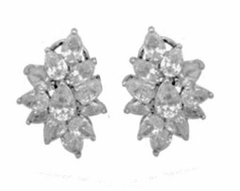 "Crystal Bridal  Earrings Bridal Cluster Earrings Floral Bridal Earrings Cubic Zirconia Earrings Cluster Wedding Jewelry Bridal ""Cassandra"""