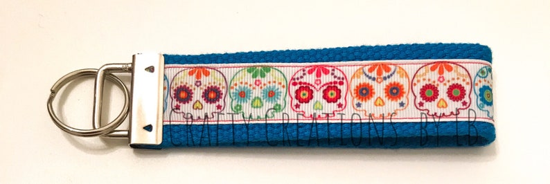 Day of the Dead Key FOB Day of the Dead Keychain Skull Key FOB Sugar Skull Keychain Skull Keychain Sugar Skull Key FOB
