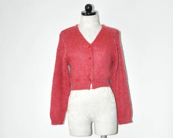 90s dark pink sweater / 1990s raspberry cardigan / vintage mohair knit top / fuzzy cropped top