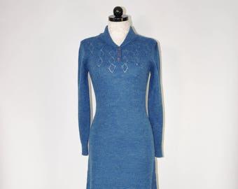 70s knit sweater dress / vintage dark teal dress / 1970s pointelle knit dress
