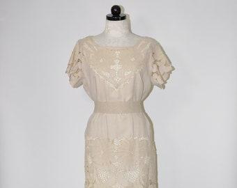 02b04db04e 60s cutout lace dress   1960s beige linen dress   openwork shift dress