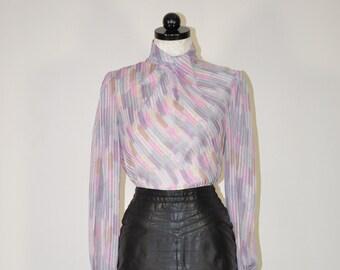 Pale Purple Sheer Striped Blouse Top 80s Lilac Vintage M L