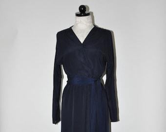 70s navy blue silk dress / 1970s silk wrap dress / vintage long sleeve dress