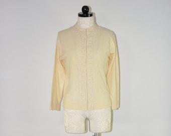 60s beaded cardigan / 1960s lambswool sweater / cream wool cardigan