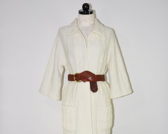 60s white long cardigan / 1960s acrylic wrap cardigan / open front sweater coat / vintage cable knit cardigan