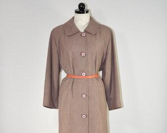 60s houndstooth coat / 1960s tweed wool coat / dusty rose tweed coat