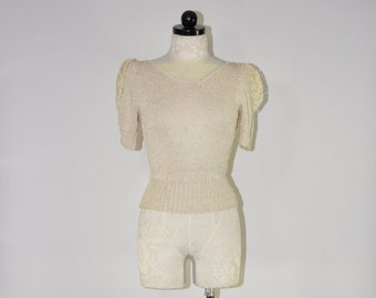 ivory silky sweater / 80s nubby knit top / lace trim sweater / short sleeve pullover