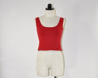 90s cropped tank top / 1990s red cotton bralette / stretchy short camisole