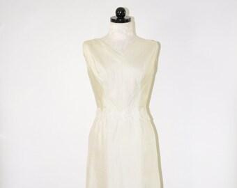 60s ivory sheath dress / 1960s lace trim dress / sleeveless wiggle dress
