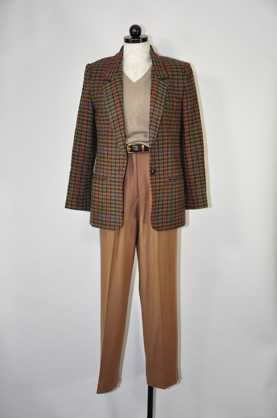 80s green plaid wool blazer / 1980s houndstooth ja