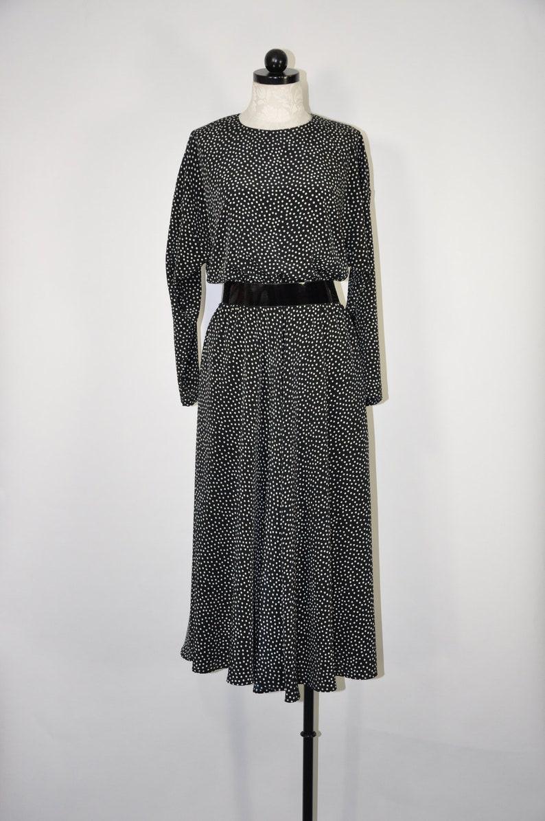 90s black and white dress / 1990s polka