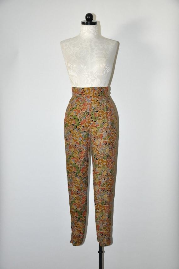 90s leaf print rayon pants / 1990s high waist trou