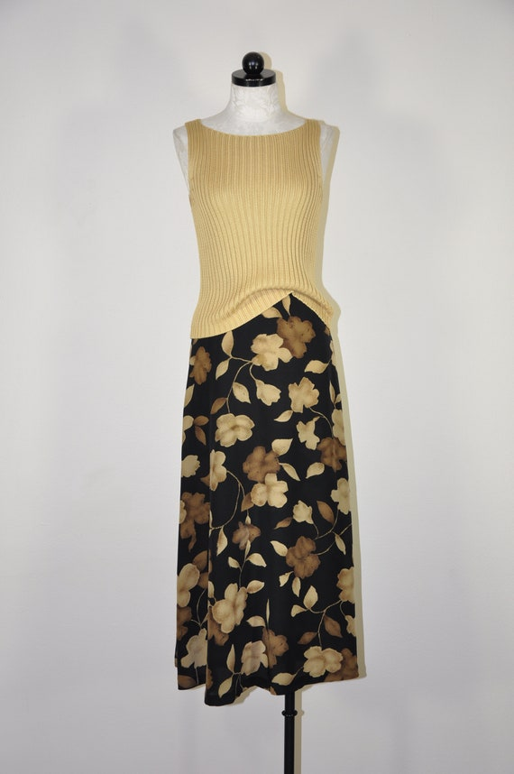 90s dark flora silk skirt / earth brown long skirt