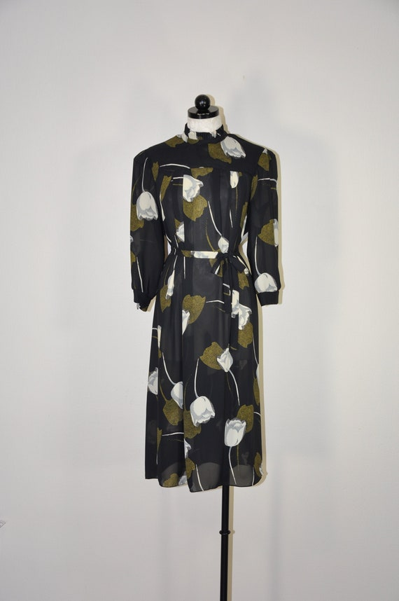 80s tulip print dress / black puff sleeve dress /