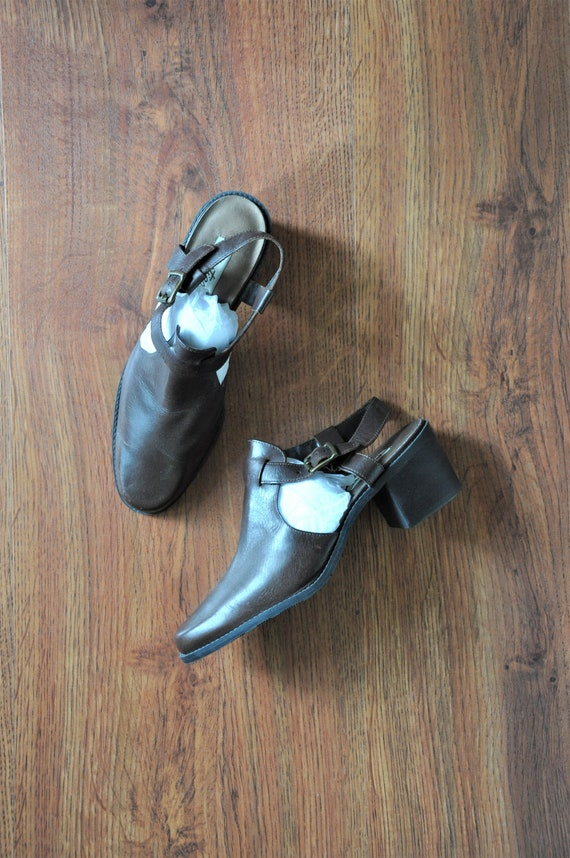 90s leather t strap loafers / chocolate brown slin