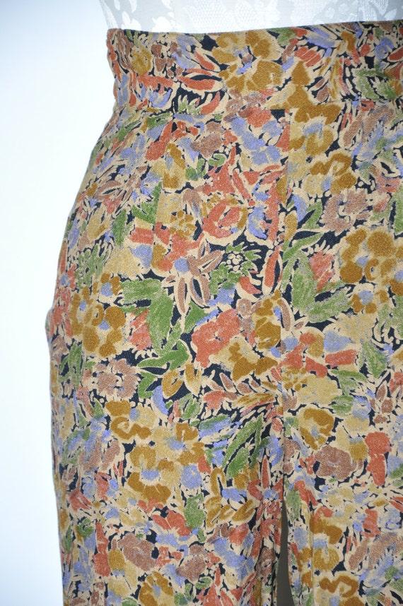 90s leaf print rayon pants / 1990s high waist tro… - image 3